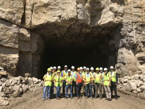 Limestone quarry in Ohio tunnel opening ceremony.